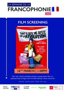 16th March | French Film Screening - Tout ce qu'il me reste de la révolution